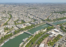 Paris panoramic view with the Seine river. Royalty Free Stock Photo