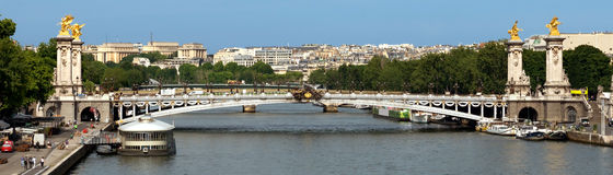 Paris - Panoramic view to Bridge of Alexandre III Stock Image