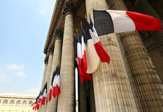 Paris Pantheon. French flags at the pantheon in Paris Royalty Free Stock Photos