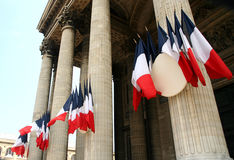 Paris Pantheon. French flags at the pantheon in Paris Stock Image