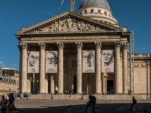 Paris Pantheon posters for Resistance exhibit in August 2015. Paris, France, August 30, 2015: The French Pantheon displays large posters of four Resistance Royalty Free Stock Images