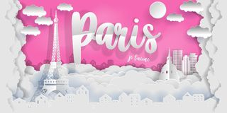 Paris in paper cute style with city and Eiffel tower, France. vector illustration