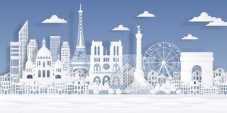 Paris paper landmark. Eiffel tower french monument, travel city symbol, paper cut cityscape design. Vector Paris origami