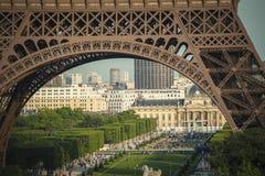 Paris seen through legs of Eiffel Tower Royalty Free Stock Image