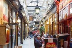 Paris, Passage des Panoramas with restaurants stock photo