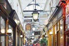 Paris, Passage des Panoramas, shops and signs stock image