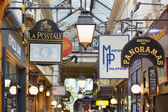 Paris, Passage des Panoramas signs, France Stock Image