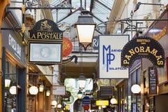 Paris, Passage des Panoramas signs, France Stock Image