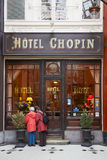 Paris, Passage Jouffroy, typical old hotel stock photography
