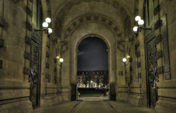 Paris passageway looking at the Louvre Stock Images