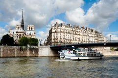 Paris, passenger boat on river Seine Royalty Free Stock Photography