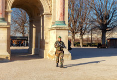 Paris. Patrol in the garden of the Tuileries. Stock Photography