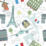 Paris Pattern 01 A. Beautiful Paris sights seamless pattern. Travel to France creative concept in pastel colours. Vector illustration. Graphic background useful Royalty Free Stock Photos