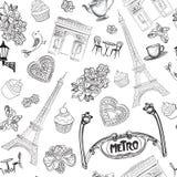 Paris pattern. Visit France seamless architectural sketch texture Stock Photo