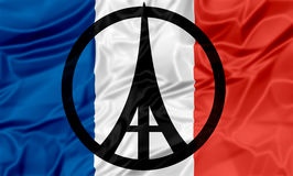 Paris Peace Flag Stock Photo