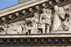 Paris - The pediment of Pantheon. Stock Photos