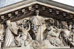 Paris - The pediment of Pantheon. Construction of the building started in 1757 and was finished in 1791 Stock Images
