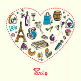 Paris Pen Drawn Doodles Vector Collection Stock Photo