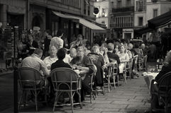 Paris, People in Outdoor Cafe Stock Images