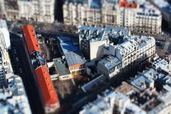Paris. The  photo show the top view of Paris with tilt-shift filter Stock Photos