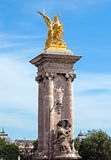 Paris - Pillar of Alexandre III bridge Stock Images
