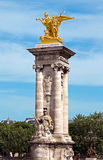 Paris - Pillar of Alexandre III bridge Royalty Free Stock Photo