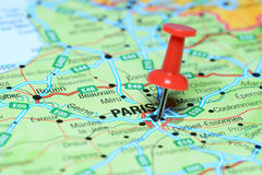 Paris pinned on a map of europe Stock Photo