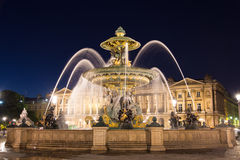 Paris, Place de la Concorde. Paris. Place de la Concorde: Monuments of Paris Fountain at night at the concorde place. The Fontaines de la Concorde are two stock image