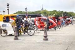 Paris. On the Place de la Concorde. Trishaws Stock Photos
