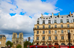 Paris Place de Saint Michel with Notre Dame Stock Images