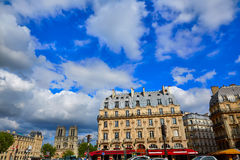 Paris Place de Saint Michel with Notre Dame Stock Photo