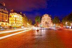 Paris Place de Saint Michel St sunset France Royalty Free Stock Photography