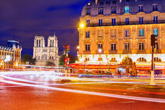 Paris Place de Saint Michel St sunset Stock Photos