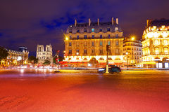 Paris Place de Saint Michel St sunset Royalty Free Stock Image