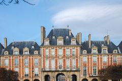 Paris, place des Vosges. In the Marais, pink facade royalty free stock photo