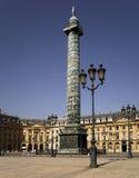 Paris: Place Vendome. France, Paris: Napoleon's Austerlitz column in Place Vendome Stock Image