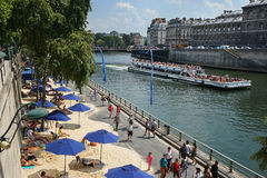 Paris-plages and Bateaux-Mouches Paris France Stock Photo