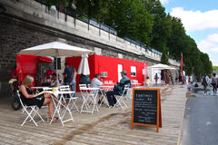 Paris Plages Beverage and first aid container Royalty Free Stock Photography