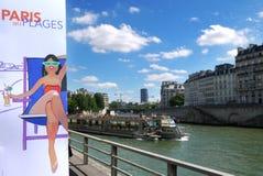 Paris-Plages sätter på land 2013 (Frankrike) Arkivbilder