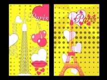 Paris-Plakat mit Herzen Romantische Collage vom Eiffelturm, von einer Kirsche und von einem Kuss frankreich Lizenzfreies Stockfoto