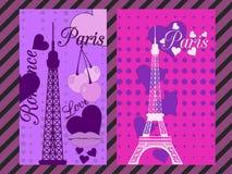 Paris-Plakat mit Herzen Romantische Collage vom Eiffelturm, von einer Kirsche und von einem Kuss frankreich Stockbilder