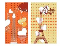Paris-Plakat mit Herzen Romantische Collage vom Eiffelturm, von einer Kirsche und von einem Kuss frankreich Stockbild