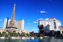 Paris and Planet Hollywood Hotel Casino, Las Vegas. With lake on strip Royalty Free Stock Images