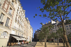 Paris Plaza. Typical Parisian plaza/square in the early morning sunlight stock image