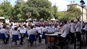 Paris Police officers orchestra - France. France, Paris - September 15, 2018: Paris Police officers orchestra (musique des gardiens de la paix) playing in front stock video footage