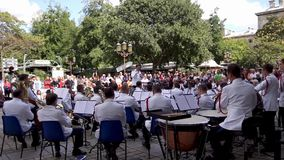 Paris Police officers orchestra - France. France, Paris - September 15, 2018: Paris Police officers orchestra (musique des gardiens de la paix) playing in front stock video