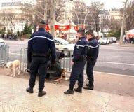 Paris police removes homeless man Stock Image