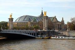 Paris Pont Alexandre. Arch lights cast iron sculpture gilt royalty free stock photo