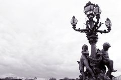 Paris, Pont Alexandre III Bridge, ornate lamp Stock Images