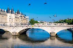 Paris, the pont au Change and the Conciergerie. On the ile de la Cité, with the Pont-Neuf in background royalty free stock photos
